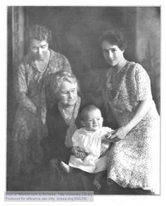 (l. to r.) Elizabeth C. Morrow, her mother, Mrs. Cutter, Charles A. Lindbergh, Jr., and Anne Morrow Lindbergh.The Manuscripts and Archives Digital Images Database (MADID)