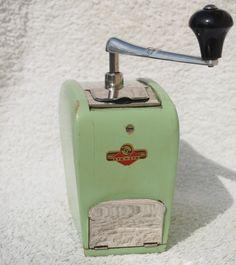Vintage German Coffee Grinders: Rare green KyM grinder