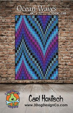 Strip-pieced waves of jewel-tone prints undulate across the surface of this Bargello-style quilt. Directions are also included for a matching runner that c Bargello Quilt Patterns, Bargello Needlepoint, Bargello Quilts, Jellyroll Quilts, Quilt Patterns Free, Needlepoint Stitches, Crochet Stitches, Strip Quilts, Panel Quilts