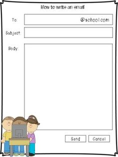 Free! Email Template for Kids. Good idea for when students want to tell you something not related to their work. Tell them to write you an email
