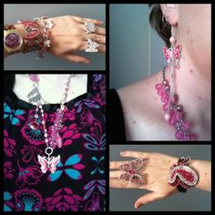 Pink and Aqua butterflies. Top from Kmart, Jewel Divas necklace and chain bracelet