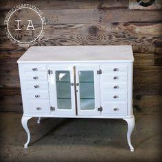 Antique Steel White 10 Drawer Medical Cabinet