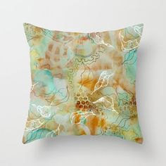 Abstract floral pillow, leaf throw pillow, subtle floral art, living room decor, foliage print, aqua floral pillow cover, line drawn leaves