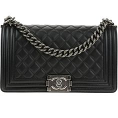 Pre-owned Chanel Black Quilted Lambskin Leather Medium Boy Bag ($5,200) ❤ liked on Polyvore featuring bags, handbags, strap purse, antique purses, antique handbags, shoulder bag purse and chanel handbags