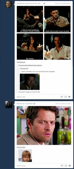 😂😂😂 I don't ship destiel. But you gotta admit this is funny and even a little sad because I liked Pamela<<<You don't ship Destiel even Destiel themselves ship Destiel Castiel, Supernatural Destiel, Supernatural Fanfiction, Supernatural Imagines, Sam Dean, Misha Collins, Jared Padalecki, Jensen Ackles, Bobby