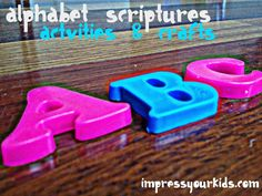 Have you been looking for some scriptures and activities to do with your child that also correspond to the alphabet? One reason I started Impress Your Kids is because as I scoured the internet, I couldn't find a list of alphabetical scriptures that worked for a 2 year old!    I finally put them all on one page for your convenience! Just click the letter below and you'll go to every Scripture/Alphabet craft, activity, recipe and coloring sheet Leigh and I did with our kids. Enjoy!