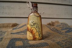 Spring decor Hand Painted Amber Glass Bottle Smile by Ramshackles, $8.25