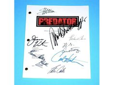 Predator Movie Signed Script Screenplay Autographed: Arnold Schwarzenegger, Carl Weathers, Richard Chaves, R.G. Armstrong, Peter Cullen                                                                                                                                                      More