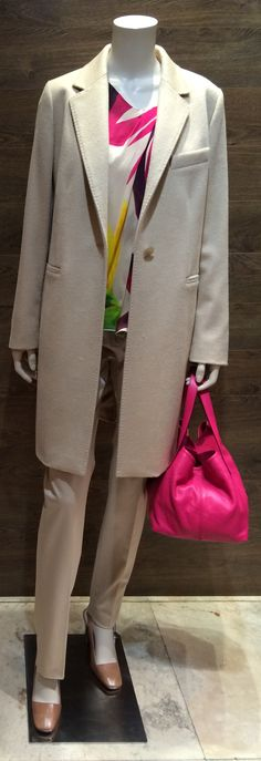 "MaxMara iconic camel hair coat | Max Mara silk floral print blouse with short cap sleeves | Max Mara Studio collection beige winter weight cotton pant | MaxMara luxe pink soft leather hand bag | Max Mara ""Perim"" nude sling back shoe with gold block heel.  Prices on request."