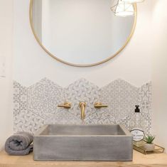 A Native Trails Nipomo sink spotting! Design by Lihi Shabtai Interior Design - concrete sink - concrete vessel sink Bathroom Styling, Bathroom Interior Design, Bathroom Storage, Bathroom Lighting, Bathroom Organization, Kitchen Interior, Bad Inspiration, Bathroom Inspiration, Bathroom Ideas
