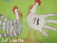 Invallers: Handkippen. (Lente/Pasen) Geen zin in vieze verfhanden? Keer de werkwijze dan om: teken de handen op wit i.p.v. groen papier en laat de achtergrond kleuren of verven. :-)