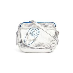 Little Marc Jacobs 'Mouse' metallic print canvas shoulder bag (£84) ❤ liked on Polyvore featuring bags, handbags, shoulder bags, metallic, snake print handbag, canvas handbags, white handbags, canvas purse and python purse