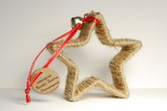 Twine wrapped cookie cutter ornament