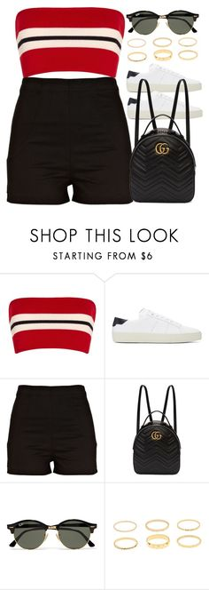 """Sin título #13214"" by vany-alvarado ❤ liked on Polyvore featuring Etienne Deroeux, Yves Saint Laurent, River Island, Gucci and Ray-Ban"
