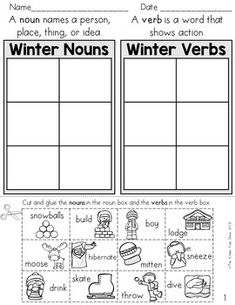 Winter Noun Verb Cut and Paste Sort, JUST PRINT AND GO! No prep!Common core aligned frequently occurring nouns and verbs.Contents:Noun, Verb sorting pages to choose from. Teacher Resources, Teacher Pay Teachers, Teaching Ideas, Parts Of Speech Worksheets, Nouns Worksheet, Nouns And Verbs, Teaching Language Arts, Cut And Paste, Kindergarten Worksheets