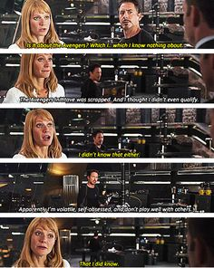 Pepper Potts ftw. the script writers did such a good job with this movie!!!