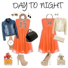 """""""Day to Night with orange dress"""" by prudence-sarah on Polyvore"""