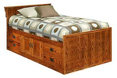 - Mission Oak Chest Bed with 4 Drawers & 2 Doors and Flat Panel Headboard - Twin Size Bedroom Chairs Uk, Small Chair For Bedroom, Bedroom Sets For Sale, Space Saving Bedroom, King Size Bedroom Sets, Bedroom Setup, Bedroom Furniture, Mission Furniture, Rustic Furniture