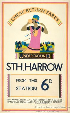 South Harrow, by Kate M Burrell, 1928 Transport Info, Transport Posters, Vintage London, Old London, Poster Ads, Poster Prints, London Transport Museum, London Poster, Old Advertisements