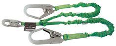 """Miller by Honeywell 231M-Z7/6FTGN 6' Manyard II Polyester Web Twin-Leg Shock-Absorbing Lanyard With (1) 3/4"""" Locking Snap Hook And (2) 2 1/2"""" Locking Rebar Hooks"""