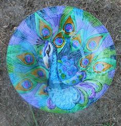 New Painted Glass Blue Amp Purple Peacock Decorative Bowl Bird Bath Feeder w Stand | eBay