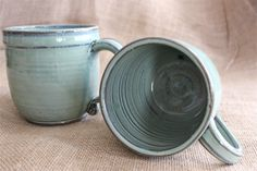 Extra large mug on grey clay wheel thrown stoneware by AudPottery