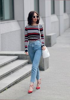 Full sleeve striped top with high waist jeans