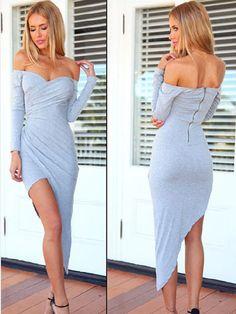 Women Sexy Off Shoulder Low-Cut Long Sleeve Irregular Hem Dress