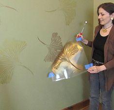 Ginkgo wall stencil is easy for DIY decor #stencil #stenciled #stenciling
