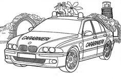 Online Printable Carabinieri Cop Car Coloring Page