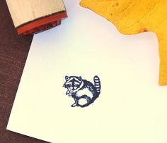 Raccoon Rubber Stamp. $3.50, via Etsy.