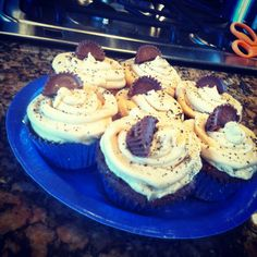 Recess peanut butter cup brownie with peaunt butter buttercream icing