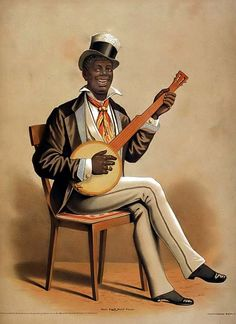 Caricature of Negro Playing Banjo  This is a caricature of a Negro Playing the Banjo. The lithograph was created by the Courier Company in 1875 and it demonstrates racial stereotypes of the late 1800's. Even with the end to slavery, black people were often treated unfairly, and often ridiculed.