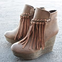 sbicca vintage collection zepp wedge fringe ankle bootie (more colors) Wedge Boots, Wedge Heels, Crazy Shoes, Me Too Shoes, Ankle Booties, Bootie Boots, Winter Heels, Winter Boots, Cute Boots