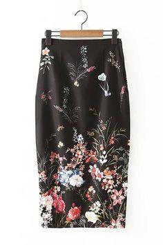 Black Floral Print Back Split Pencil Skirt