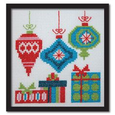 Counted Cross Stitch Pattern PDF Vintage Xmas Ornaments and Presents