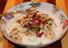 roasted poblano cheese grits. I had some of these at COBALTS in Orange Beach, AL. Yum!!!!!!