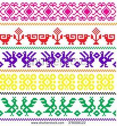 Crochet Stitches Patterns, Stitch Patterns, Hand Embroidery Dress, Cross Stitch Bird, Loom Beading, Animal Crossing, Aztec, Mosaic, Tapestry