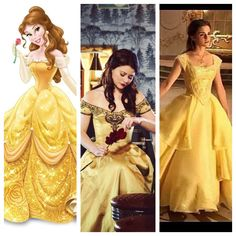 Belle three ways. Original, Once Upon A Time and live action. I love how all three dresses are different but the same.