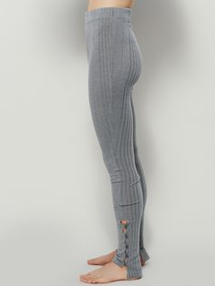 Button Up Legging | Super comfy knit leggings featuring button detailing at the pant hem. Ribbed texture throughout and elastic waistband for an easy fit.