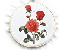 Botanical Plate  Rose  Cross Stitch Pattern PDF by GreatHome, $4.00