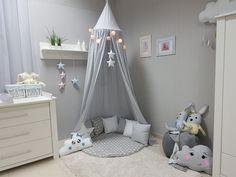 Babymajawelt® Betthimmel Baldachin Grau XXL Stars (Sterne) - Kinderzimmer Zelt zum Aufhängen, Kinder