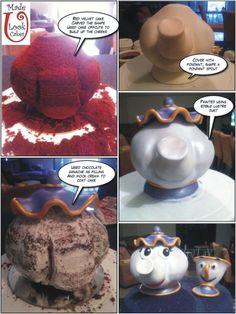 Made u look cakes - Beauty & the Beast Mrs Potts cake mini tutorial Fancy Cakes, Cute Cakes, Cake Decorating Tutorials, Cookie Decorating, Fondant Cakes, Cupcake Cakes, Cake Structure, Teapot Cake, Cake Shapes