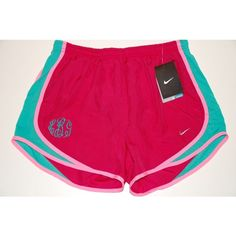 Monogrammed Nike Tempo Shorts Fuschia Teal ($48) ❤ liked on Polyvore featuring nike