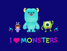 I love Monsters! a little illustration for my kiddo   tags: monsters inc monsters university pixar kawaii disney chibi cute Jerrod Maruyama toy story card print summer fun movie collage animation Mike Wazowski little monster Sulley James P. Sullivan Randall Boggs Jeff Fungus The Abominable Snowman boo girl