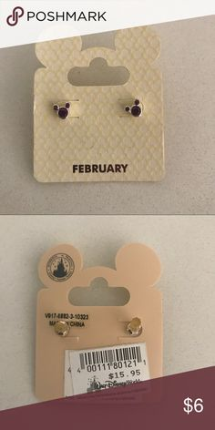 Never Worn Disney World Feb Birthstone Earrings Brand new, never worn Mickey ears February birthstone earrings. Stone color is purple. Bought in Disney World but never used! Disney Accessories Jewelry