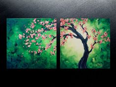 Original abstract pink cherry blossom tree painting emerald green abstract tree contemporary modern diptych canvas art