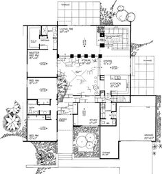 Atrium as hallway? Floor Plans - 1 Story Shed Home with 3 Bedrooms, 2 Bathrooms and total Square Feet Contemporary House Plans, Contemporary Style Homes, Modern House Plans, Small House Plans, Contemporary Decor, House Floor Plans, Contemporary Architecture, Contemporary Stairs, Pavilion Architecture