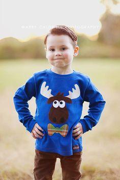 Boys Moose Shirt Applique Tshirt Blue Long Sleeved Winter Shirt Holiday 18m 2T 4T 6 8 Woodland