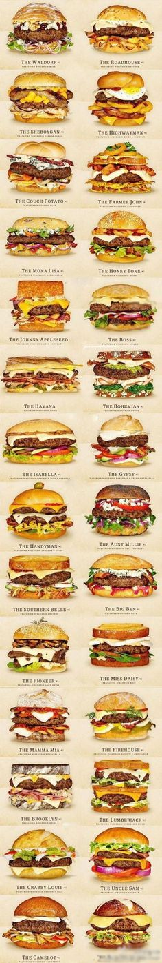 30 Awesome Cheeseburger Ideas ~~ So Many Awesome, Tasty Burgers Options ~ This Seriously in the Mother Lode of All Things Holy!!  #infographic